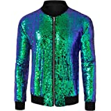 Lars Amadeus Men's Varsity Jacket Halloween Party Disco Shiny Sparkly Glitter Sequins Bomber Jacket