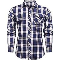 Sykooria Uomo Camicie Slim Manica Lunga Bottone Giù Camicie a Quadri Invernali Cotone Casual Manica Maglie a Manica…