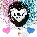 شركة سويت بيبي بالون جامبو 36 إنش للكشف عن نوع الجنس للأطفال | بالونات سوداء كبيرة مع عبوات قصاصات على شكل قلب وردي وأزرق للأ