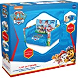 Paw Patrol 2 in 1 Inflatable Flip Out Mini Sofa and Lounger, Fabric, Blue, 105x68x26 cm