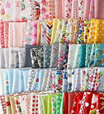 AST Works 100PCS 10x10cm DIY Square Floral Cotton Fabric Patchwork Cloth for Craft Sewing