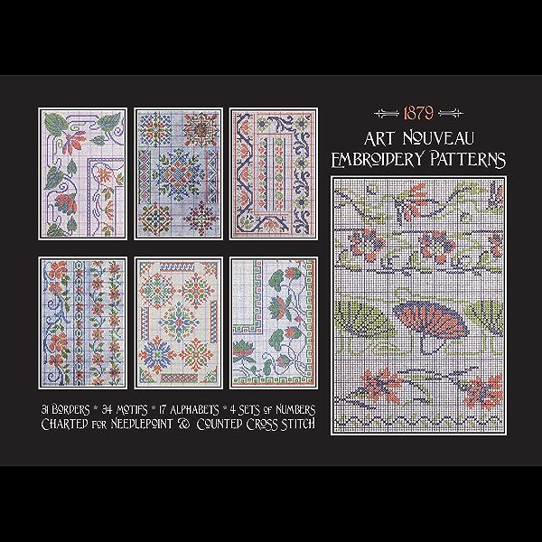 2 Different Quick Stitch Art Nouveau Designs  # 7 Counted Cross Stitch Patterns