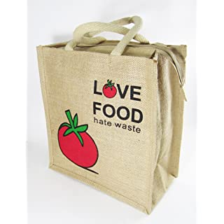 Classy Style Love Food Hate Waste Jute Lunch Bag  Multicolour