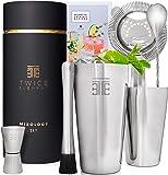 Twice Element® Cocktail Shaker Set| Edelstahl Shaker im Boston-Stil | Reichhaltiges Zubehör für einfachste Handhabung…