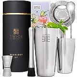 Twice Element® Shaker à Cocktail - Kit de Shaker Boston à Cocktails avec Accessoires dans Un Coffret Cadeau Elégant, Livre de