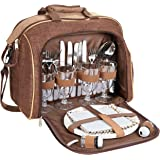 Brubaker Picknicktasche für 4 Personen mit Kühlfach - tragbar als Duffelbag oder Schultertasche - Braun 38 × 30 x 21,5 cm