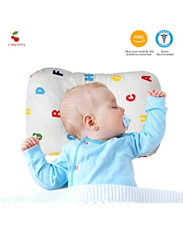 A Baby Cherry Baby Pillow :: Organic Cotton Head Shaping Pillow for Infants and Toddlers (0M to 5 Yr) - Unisex || Washable || 3D Mesh Structure || Prevent Flat Head + Free Pillow Cover (Alphabets)