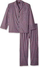 Hanes Men's Big Woven Plain Pajama Set,  Red Plaid,  Large, Red Plaid, Large