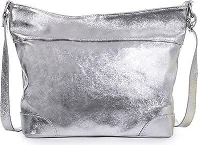 LiaTalia - Jane - Borsa a spalla vera pelle italiana di alta qualità, borsa elegante grande capacità - Argento