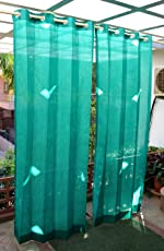 HIPPO Plastic Outdoor Eyelet Curtains, 4.5x7.5ft, Green
