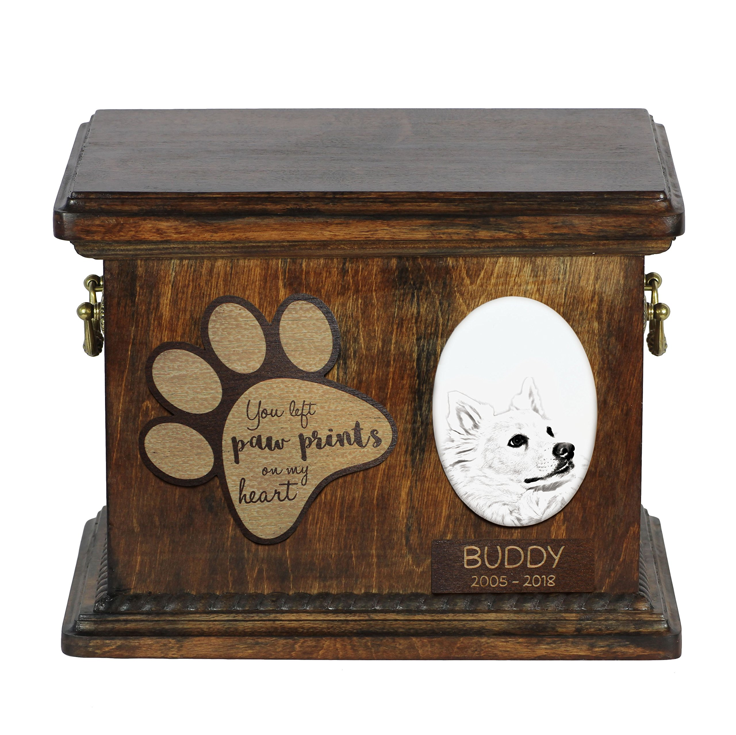 ArtDog Ltd. American Eskimo Dog, urn for dog's ashes with ceramic plate and description