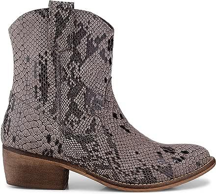 Cox Damen Western Boots aus Leder, Stiefeletten in Grau im Schlangenleder Design