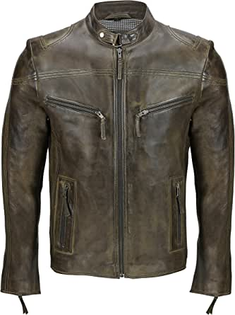 Mens Vintage Real Leather Black Biker Style Zipped Pockets Casual Fitted Jacket