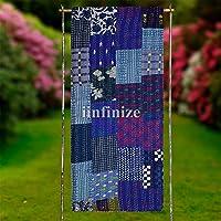 iinfinize Indian 60 X 90 100% Silk Handmade Patchwork Kantha Inspired Indigo Blue Quilt Throw Traditional Patola Kantha…