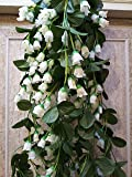 Samriddhi Artificial Hanging Orchid Flowers Contrast White Small Lotus Pink Bush for Home Wall Hanging Decor