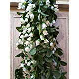 Samriddhi Artificial Hanging Orchid Flowers Contrast White Small Lotus Pink Bush For Home Wedding Wall Hanging Decor