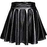 EXCHIC Women's Shiny Metallic Wet Look Stretchy Flared Mini Skater Skirt