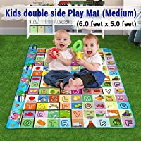 Keekos Waterproof Double Side Baby Play Crawl Floor Mat for Kids Picnic School Home (Medium Size -6 X 5 ft, Multicolour) with Zip Bag to Carry