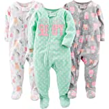 Simple Joys by Carter's 3-Pack Loose Fit Flame Resistant Fleece Footed Pajamas Bebé-Niñas, Pack de 3