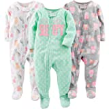 Simple Joys by Carter's Baby Girl's Footed Fleece Zipped Long Sleeve Sleepsuit, Pack of 3