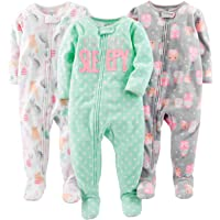 Simple Joys by Carter's Baby Girl's 3-Pack Loose Fit Flame Resistant Fleece Footed Pajamas, Pack of 3