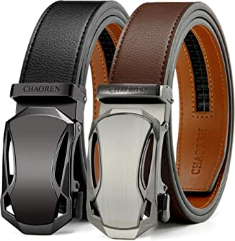 CHAOREN Automatic Belt 2 Pieces Ratchet Leather Belt Men 35 mm Wide with Gift Box - - One size