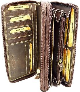 11b561c6d400c flevado Große Damen Leder Geldbörse in Hunter mit viel Stauraum und Platz  für 24 Karten und
