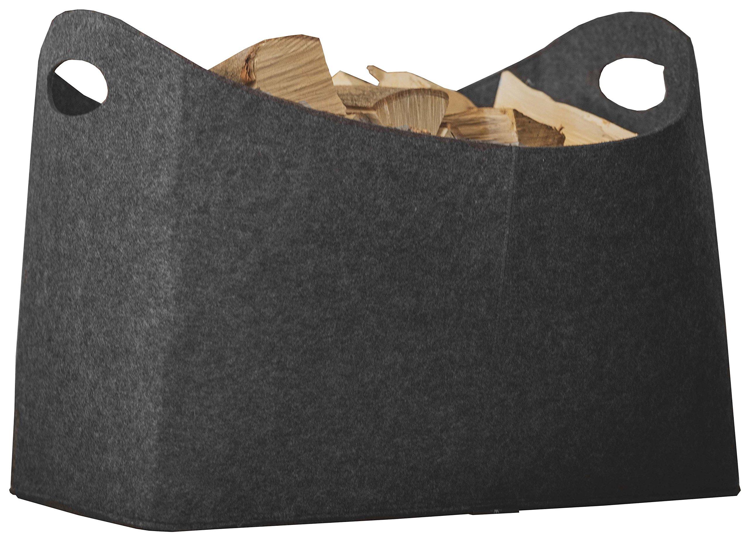 Rubberneck Cesta de leña, fieltro, multiusos, dimensiones 54 x 39 x 30 cm (Antracite)