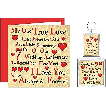 Our 7th Wedding Anniversary Gift Set Card Keyring Fridge Magnet
