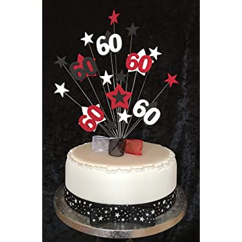 60th Birthday Cake Topper Red Black And White Stars PLUS 1 X Metre 25mm With Grosgrain Ribbon Attached Bow