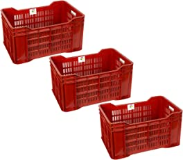 HomeStrap Plastic Crate - 3 Piece - Red