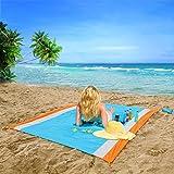 OUSPT Coperta da Spiaggia, Tappetino da Picnic Anti Sabbia 210 * 200CM Portatile Impermeabile con Reticule e 4 Picchetti Fixe
