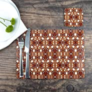 Handmade Ethnic Pattern Table Mat & Coaster Set | Designed and Printed in England | Extra Large 32x23cm | Red Orange Dining Table Mat | Cream Red Table Protector | Rustic Table Decor