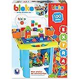 BLOKO – Coffret de 100 BIoko avec Etabli de Construction – Dès 12 Mois – Fabriqué en Europe – Jouet de Construction 1er âge –