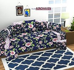 AEROHAVEN™ 3D Luxury 180 TC Designer Printed 8Pc Diwan Set(1 Single Bedsheet, 2 Bolster Covers, 5 Cushion Covers)