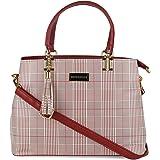 BELLISSA Women's Check Design Premium Handbag (Red)