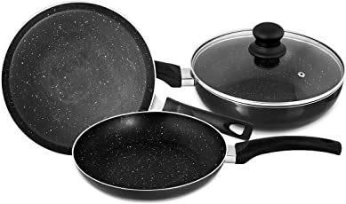 Singer Maxicook Graphite 4 Pcs Induction Base Non-Stick Cookware Set Including Tawa, Fry Pan & Kadai with Glass Lid