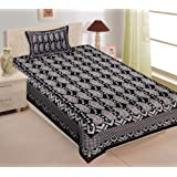 UNIBLISS 100% Cotton Rajasthani Jaipuri Traditional Single Bed Sheet with One Pillow Cover - (Single_Black)