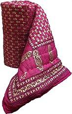 Mharo Rajasthan Traditional Pink Jaipuri Rajai/ Razai/ Quilt Single Side Printed - Single bed