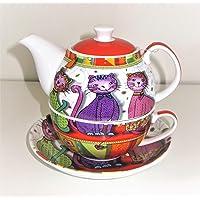 """Tea for one Set """"Evi"""" Porzellan, 4 teilig Kanne: 0,3 l, Tasse: 0,17 l"""