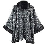 Bruceriver Women Luxury Faux Fur Poncho Topper Cloak Coat Sweater Cap Wraps