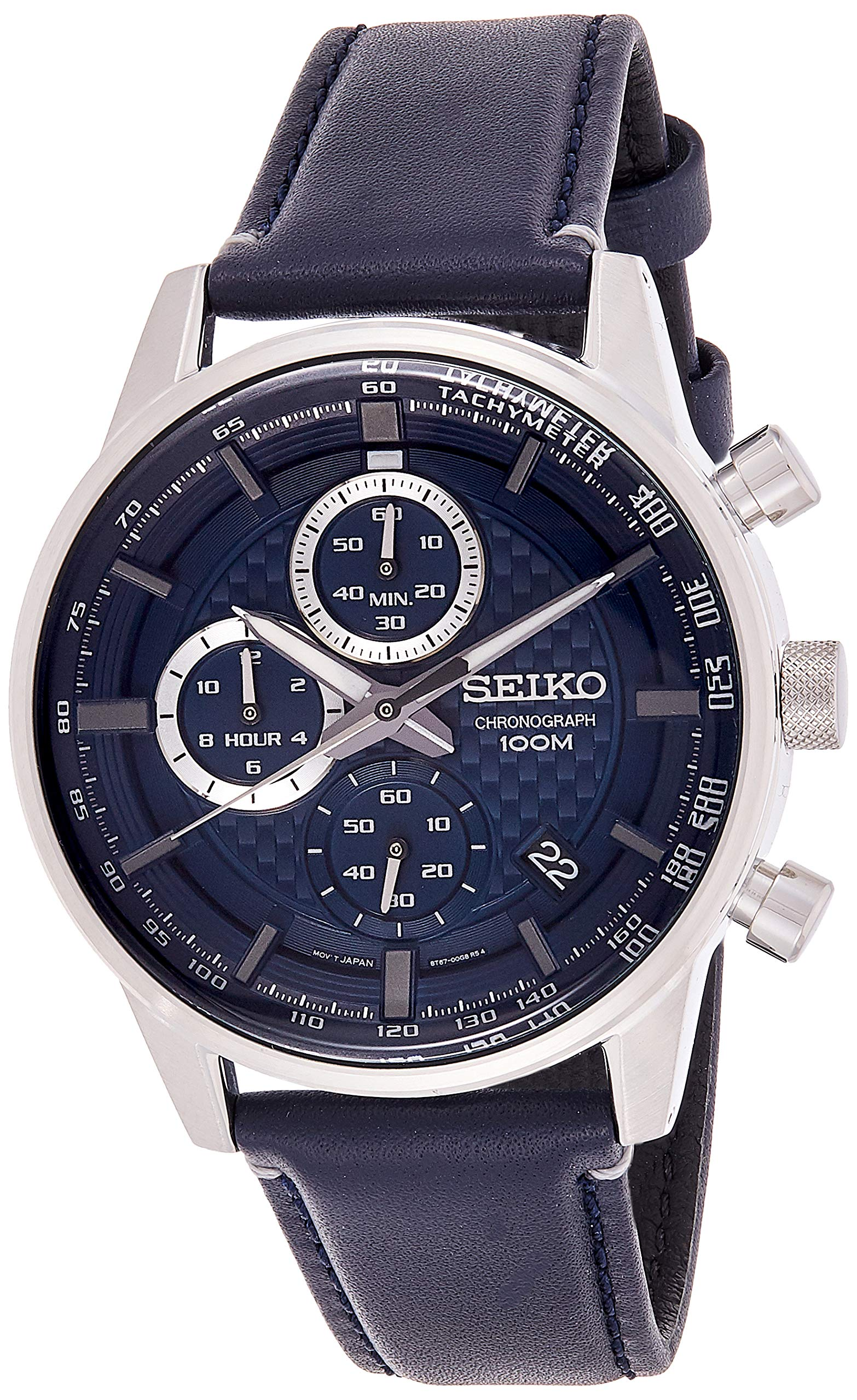 Seiko Mens Chronograph Quartz Watch with Leather Strap SSB333P1