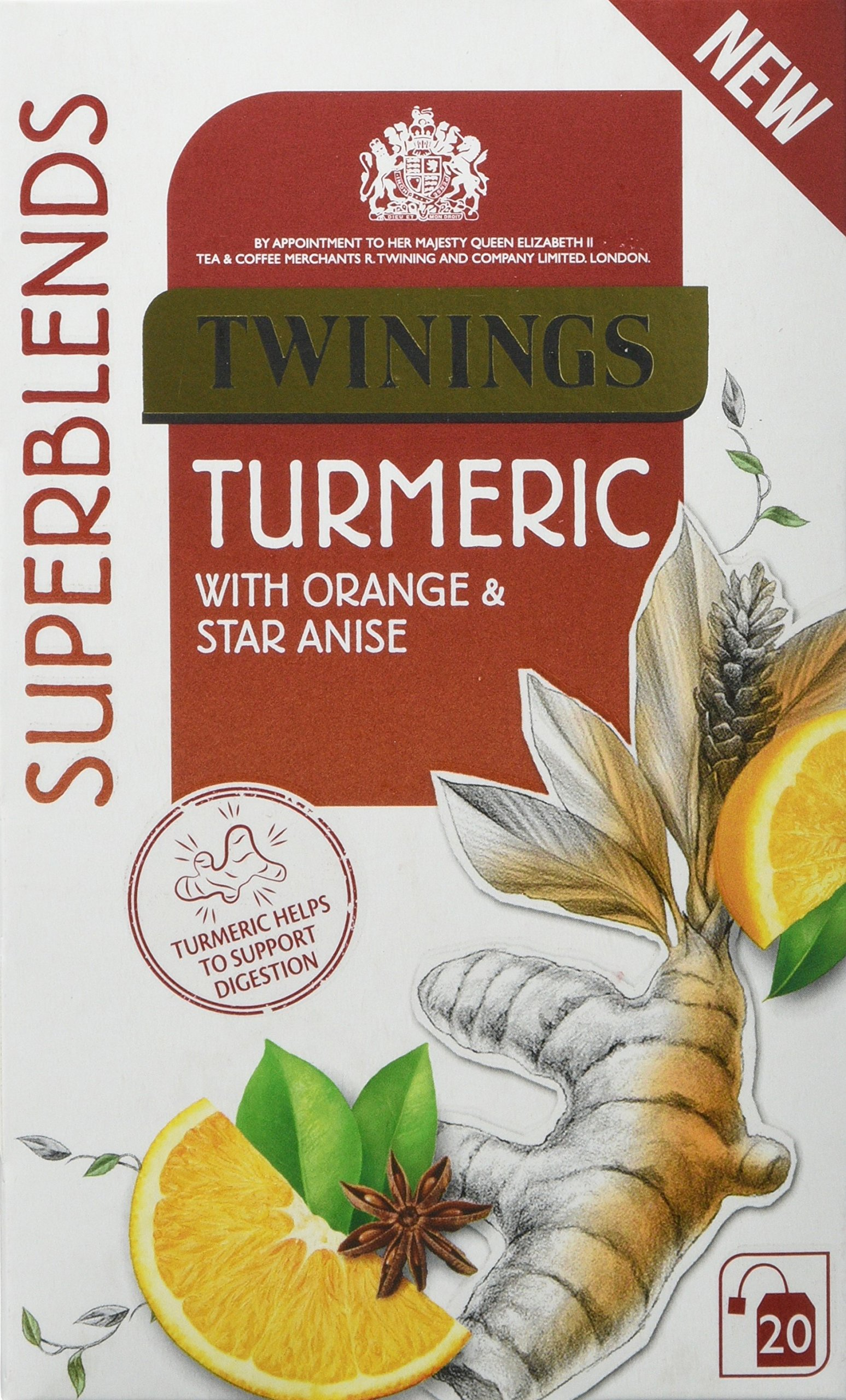 Twinings superblends tea bundle (infusions) (4 packs of 20 bags) (80 bags) (a fruity, spicy tea with aromas of orange, star anise, turmeric) (brews in 3-4 minutes)