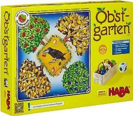 Haba 4170 - Obstgarten Spannendes Würfelspiel, mit 40 Früchten aus Holz und leicht verständlichen Spielregeln, Brettspiel ab 3 Jahren
