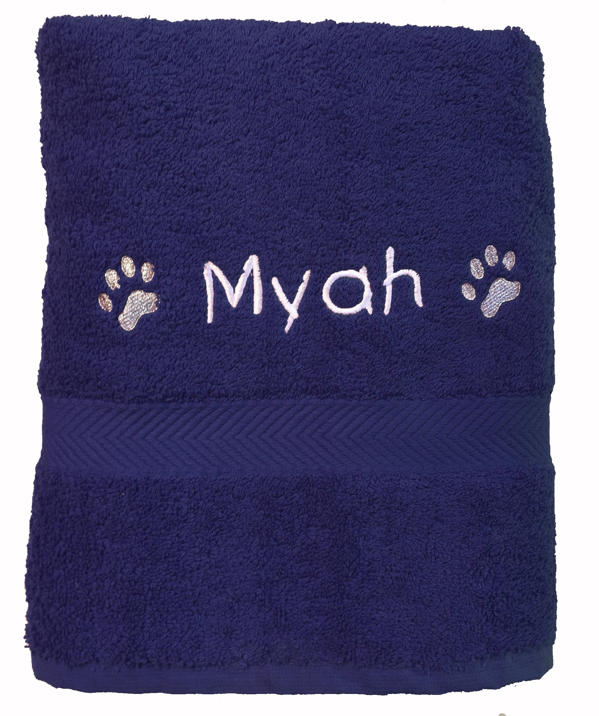 Spoilt Rotten Workshop Personalised Cosy Paw Navy Blue Travel Pet Towel For Dogs 36″ x 20″