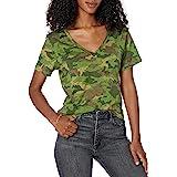 Marchio Amazon - Lindsey T-shirt con scollo a V, maniche corte, vestibilità morbida di The Drop