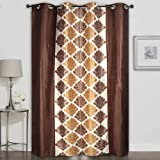 Homely Eyelet Motif Polyester 7 ft Door Curtain -Brown