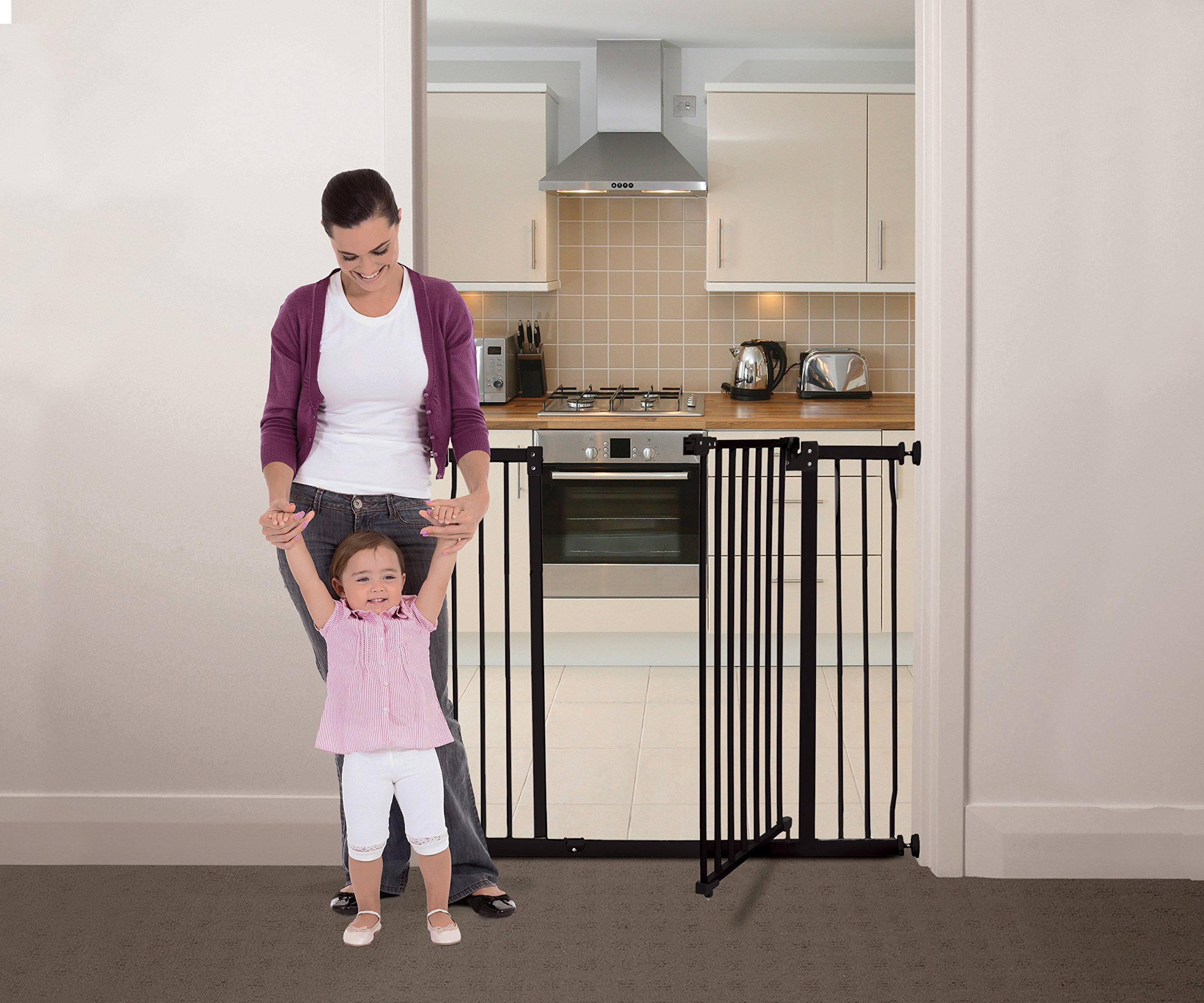 Dreambaby Liberty Xtra-Tall & Wide Safety Gate (Fits 99cm-106cm) Black Dreambaby MEASURE YOUR OPENING BEFORE PURCHASING - This gate ONLY fits openings 99 to 106 cm. It will not fit any opening smaller than 99 cm. If your opening is larger than 106 cm you will require an additional purchase of an extension. VERSATILE AND DEPENDABLE- Our Dreambaby Liberty gate is loaded with features to not only help make your life easier but safer too. Versatile indeed, it can accommodate openings of 99 to 106 cm wide and is 93 cm tall. Using optional extensions sold separately, the gate can be extended up to 306 cm. ONE HANDED OPERATION - The One-Handed operation is fantastic for times when you're holding your child and the double locking feature ensures extra security to help keep your child safer. 5