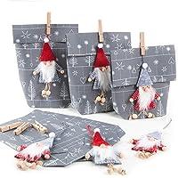 Logbuch-Verlag 6 Wichtelgeschenk Verpackungen grau weiß mit Wichtel Anhänger aus Filz - Wichteltüte Nikolaustüte…