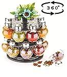 ATMAN 360 Degree Revolving Round Shape Transparent Spice Rack, Container (Black)